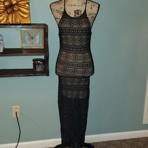 New Poetry Crochet Lace Mesh Halter Keyhole Maxi